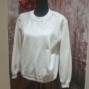 Sunburst Embellished White Sweatshirt